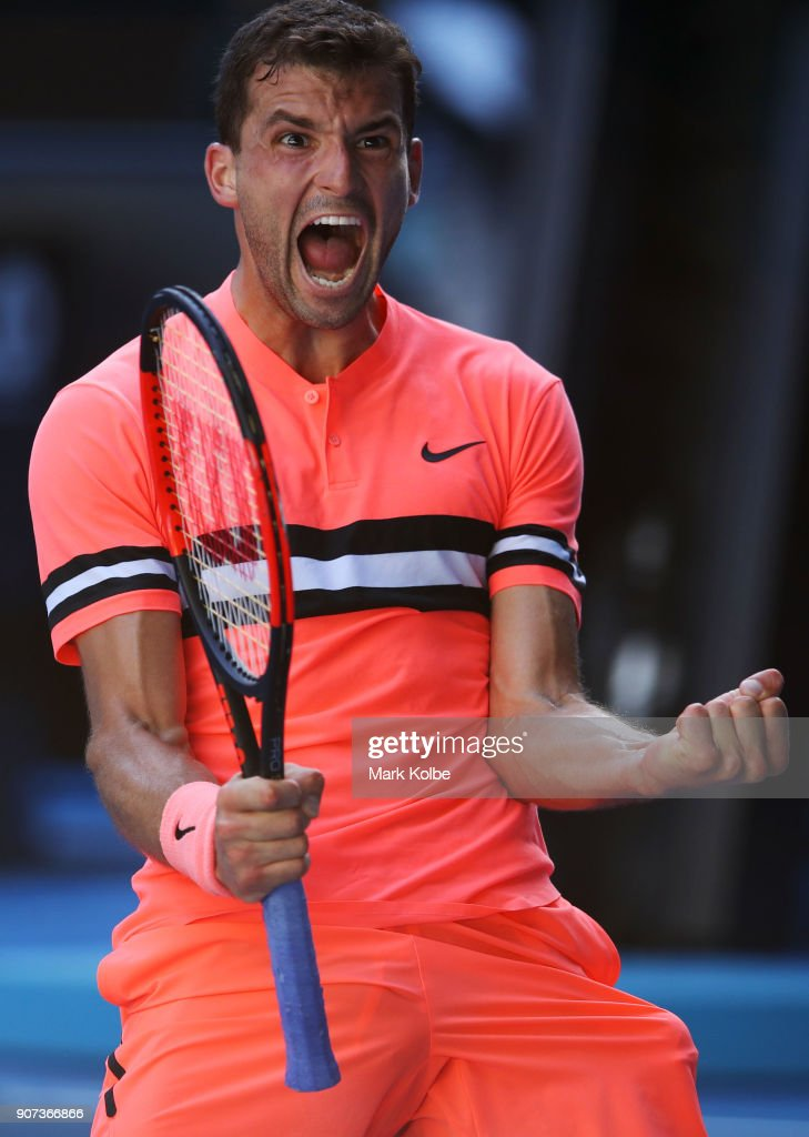 Grigor Dimitrov of Bulgaria celebrates winning match point in his third round match against Andrey Rublev of Russia on day five of the 2018 Australian Open at Melbourne Park on January 19, 2018 in Melbourne, Australia.