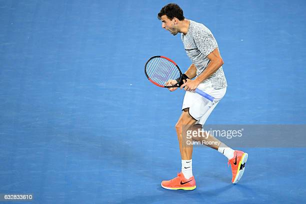 Grigor Dimitrov of Bulgaria celebrates winning the fourth set in his semifinal match against Rafael Nadal of Spain on day 12 of the 2017 Australian...