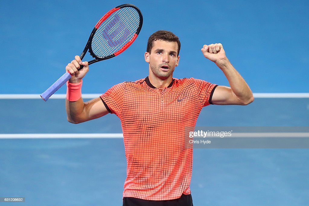Grigor Dimitrov of Bulgaria celebrates winning the Men's Final against Kei Nishikori of Japan during day eight of the Brisbane international at Pat Rafter Arena on January 8, 2017 in Brisbane, Australia.