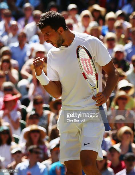 Grigor Dimitrov of Bulgaria celebrates winning the second set to even it up at one set all during his Gentlemen's Singles semifinal match against...