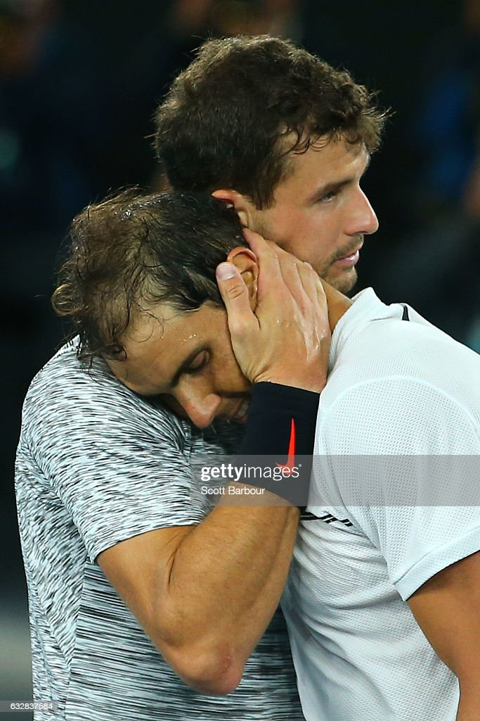 Grigor Dimitrov of Bulgaria congratulates Rafael Nadal of Spain on winning their semifinal match on day 12 of the 2017 Australian Open at Melbourne Park on January 27, 2017 in Melbourne, Australia.