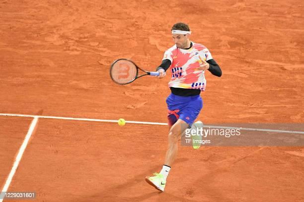 Grigor Dimitrov of Bulgaria during a match at Roland Garros on October 5 2020 in Paris France