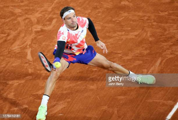 Grigor Dimitrov of Bulgaria during day 9 of the 2020 French Open on Court Philippe Chatrier at Roland Garros stadium on October 5 2020 in Paris France