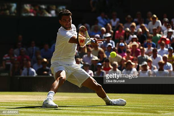 Grigor Dimitrov of Bulgaria during the Gentlemen's Singles semifinal match against Novak Djokovic of Serbia on day eleven of the Wimbledon Lawn...