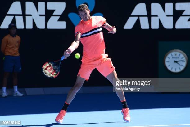 Grigor Dimitrov of Bulgaria in action against Andrey Rublev of Russia during the fifth day of 2018 Australia Open at Melbourne Park in Melbourne...
