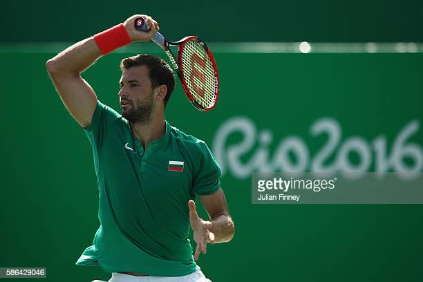 Grigor Dimitrov of Bulgaria in action against Marin Cilic of Croatia in the men's first round on Day 1 of the Rio 2016 Olympic Games at the Olympic...