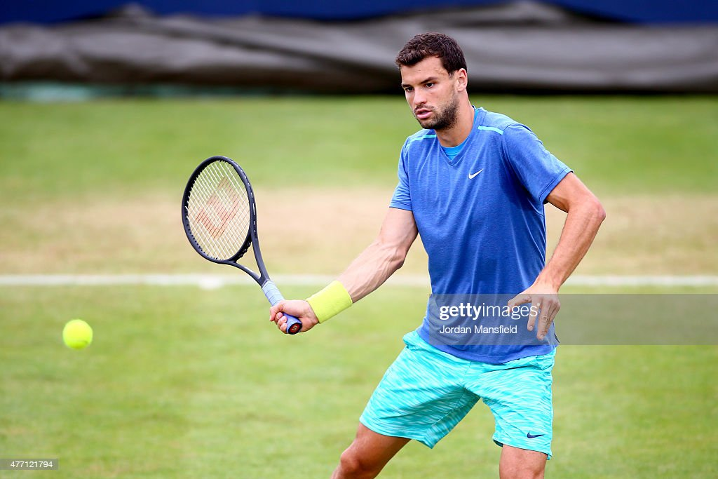 Grigor Dimitrov of Bulgaria in action during a practice session ahead of the Aegon Championships at the Queens Club on June 14, 2015 in London, England.