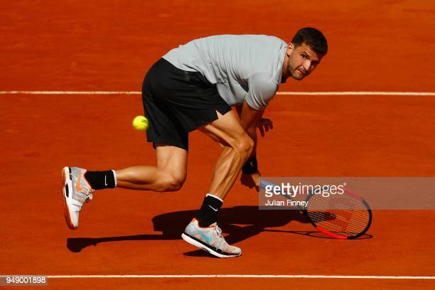 Grigor Dimitrov of Bulgaria in action in his singles match against David Goffin of Belgium during say six of ATP Masters Series Monte Carlo Rolex...