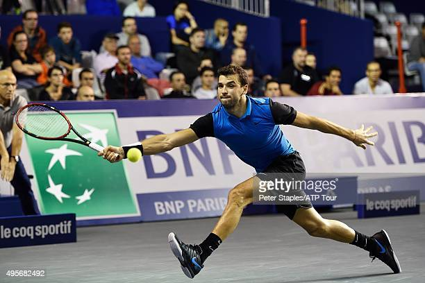 Grigor Dimitrov of Bulgaria in action in his win against Marin Cilic of Croatia at the BNP Paribas Masters at Palais Omnisports de Bercy on November...