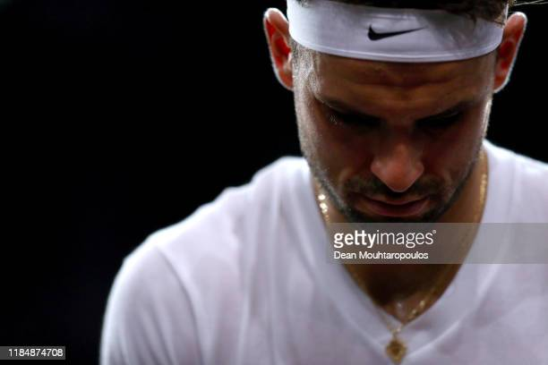 Grigor Dimitrov of Bulgaria looks on after his match against Cristian Garin of Chile on day 5 of the Rolex Paris Masters, part of the ATP World Tour...