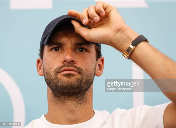 Grigor Dimitrov of Bulgaria looks on during a press conference prior to the Adria Tour tennis event on June 12, 2020 in Belgrade, Serbia.