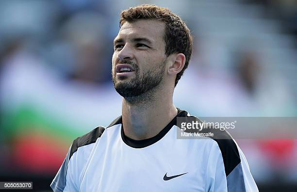 Grigor Dimitrov of Bulgaria looks on during his semi final match against Gilles Muller of Luxembourg during day six of the 2016 Sydney International...