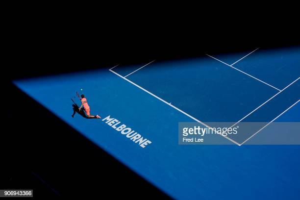 Grigor Dimitrov of Bulgaria plays a backhand in his third round match against Andrey Rublev of Russia on day five of the 2018 Australian Open at...
