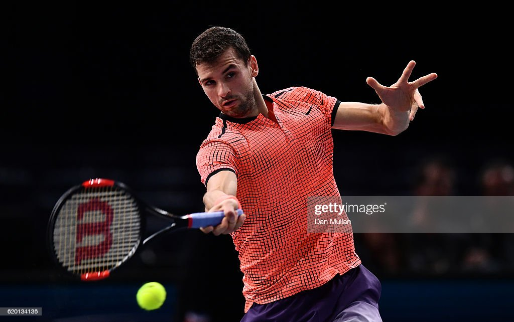 Grigor Dimitrov of Bulgaria plays a forehand against MArcos Baghdatis of Cyprus during the Mens Singles second round match on day two of the BNP Paribas Masters at Palais Omnisports de Bercy on November 1, 2016 in Paris, France.