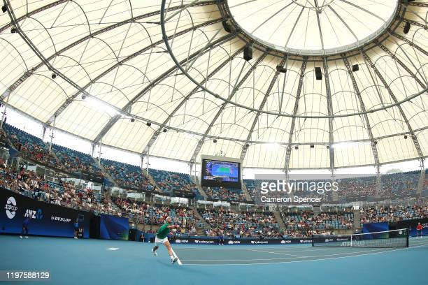 Grigor Dimitrov of Bulgaria plays a forehand during his Group C singles match against Radu Albot of Moldova during day three of the 2020 ATP Cup...