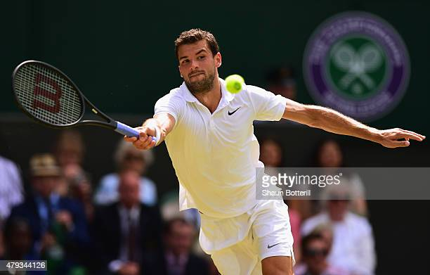 Grigor Dimitrov of Bulgaria plays a forehand in his Gentlemen's Singles Third Round match against Richard Gasquet of France during day five of the...