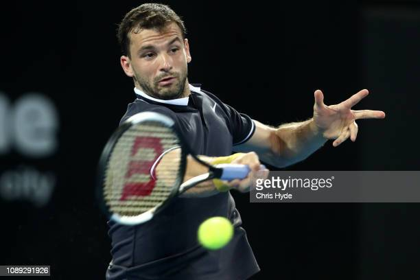 Grigor Dimitrov of Bulgaria plays a forehand in his match against Kei Nishikori of Japan during day five of the 2019 Brisbane International at Pat...