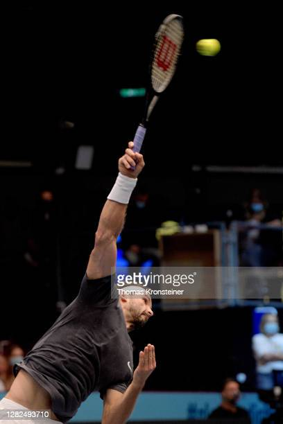 Grigor Dimitrov of Bulgaria plays a forehand in his match against Karen Khachanov of Russia on day four of the Erste Bank Open tennis tournament at...