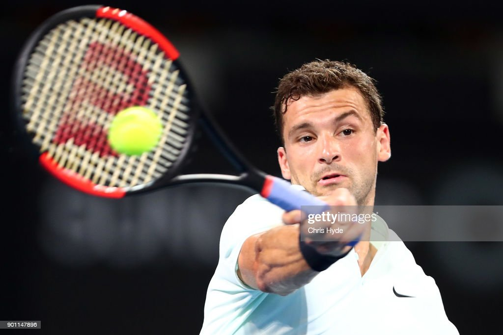 Grigor Dimitrov of Bulgaria plays a forehand in his match against John Millman of Australia during day five of the 2018 Brisbane International at Pat Rafter Arena on January 4, 2018 in Brisbane, Australia.