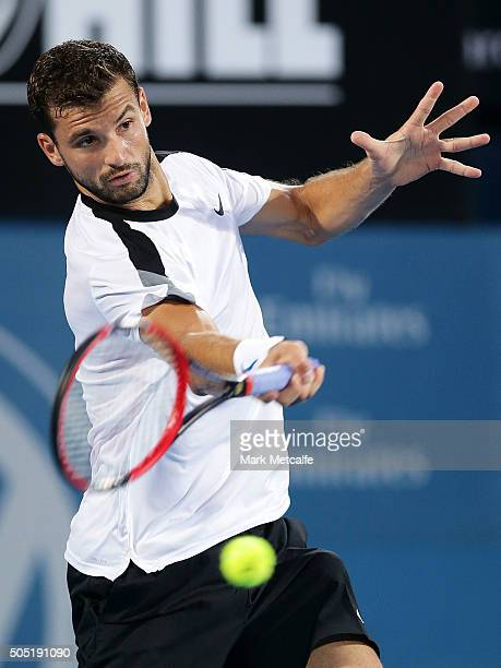 Grigor Dimitrov of Bulgaria plays a forehand in his men's final match against Viktor Troiki of Serbia during day seven of the 2016 Sydney...