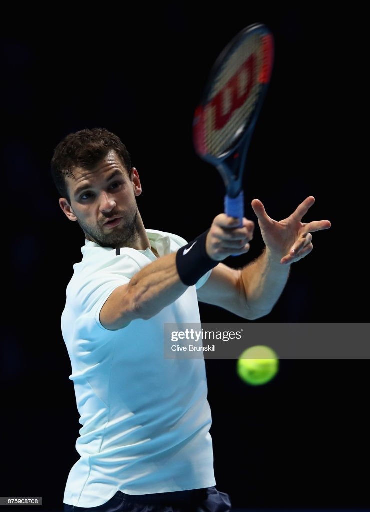 Grigor Dimitrov of Bulgaria plays a forehand in his semi final match against Jack Sock of the United States the Nitto ATP World Tour Finals at O2 Arena on November 18, 2017 in London, England.
