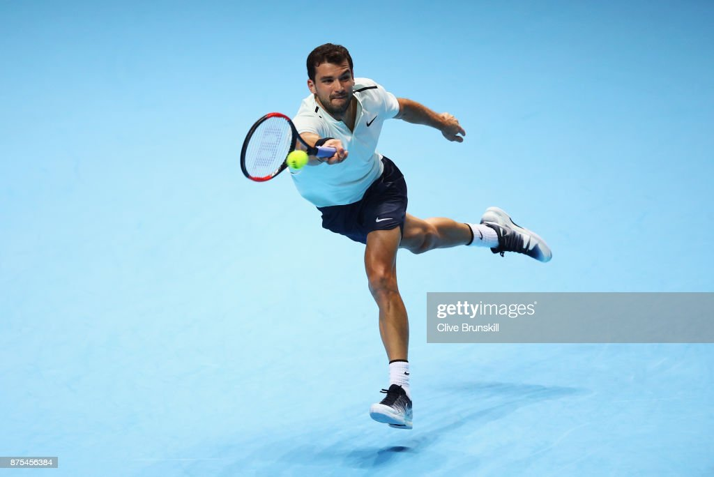 Grigor Dimitrov of Bulgaria plays a forehand in his Singles match against Pablo Carreno Busta of Spain during day six of the Nitto ATP World Tour Finals at O2 Arena on November 17, 2017 in London, England.
