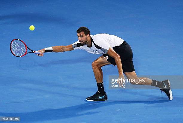 Grigor Dimitrov of Bulgaria plays a forehand in the mens final match against Viktor Troicki of Serbia during day seven of the 2016 Sydney...