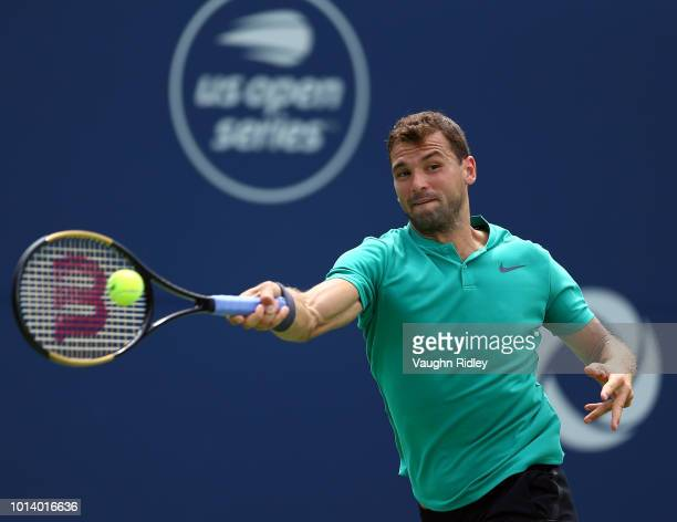 Grigor Dimitrov of Bulgaria plays a shot against Frances Tiafoe of the United States during a 3rd round match on Day 4 of the Rogers Cup at Aviva...