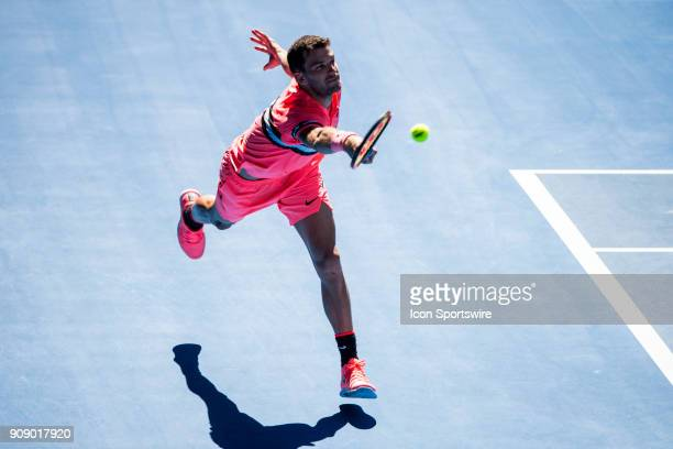Grigor Dimitrov of Bulgaria plays a shot in his Quarterfinals match during the 2018 Australian Open on January 23 at Melbourne Park Tennis Centre in...