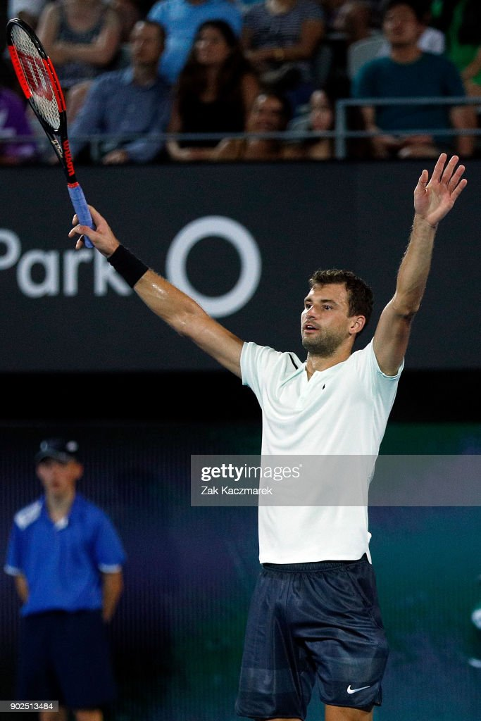 Grigor Dimitrov of Bulgaria reacts after winning the match in a Fast Fours Exhibition Match against Lleyton Hewitt of Australia during day two of the 2018 Sydney International at Sydney Olympic Park Tennis Centre on January 8, 2018 in Sydney, Australia.