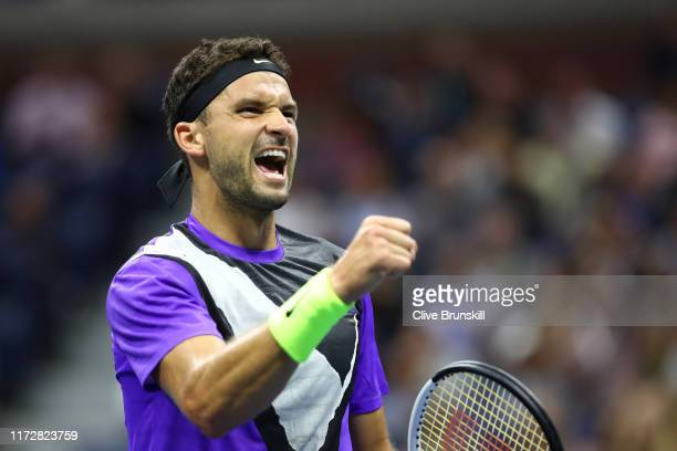 Grigor Dimitrov of Bulgaria reacts during his Men's Singles semi-final match against Daniil Medvedev of Russia on day twelve of the 2019 US Open at...