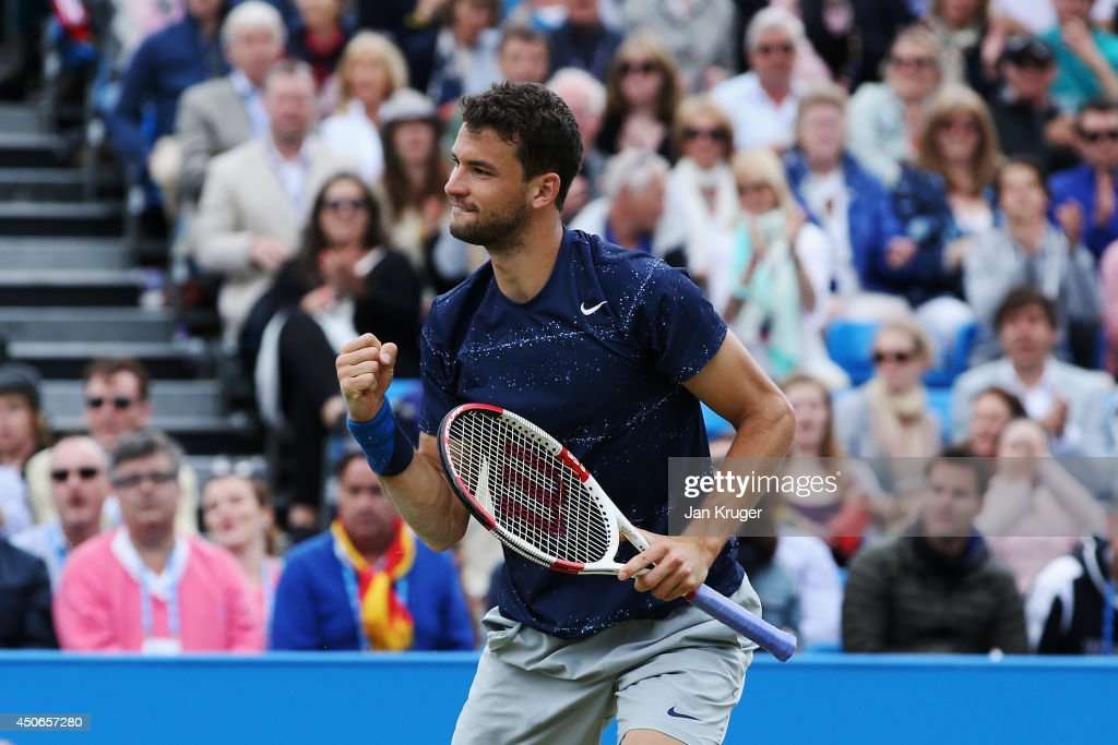 Grigor Dimitrov of Bulgaria reacts in his match on his way to beating Feliciano Lopez of Spain during their Men's Singles Final on day seven of the Aegon Championships at Queens Club on June 15, 2014 in London, England.