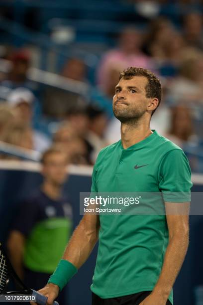 Grigor Dimitrov of Bulgaria reacts to a line call during Day 5 of the Western and Southern Open at the Lindner Family Tennis Center on August 16 2018...