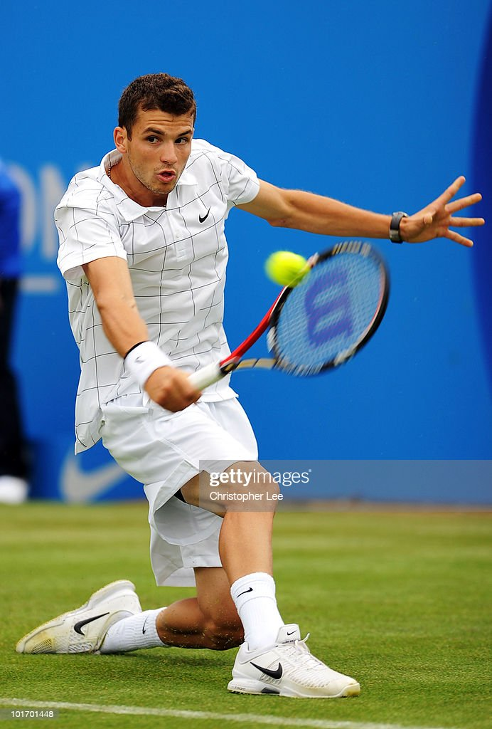 Grigor Dimitrov of Bulgaria returns a shot during his first round match against Alex Bogdanovic of Great Britain during Day 1 of the the AEGON Championships at Queen's Club on June 7, 2010 in London, England.