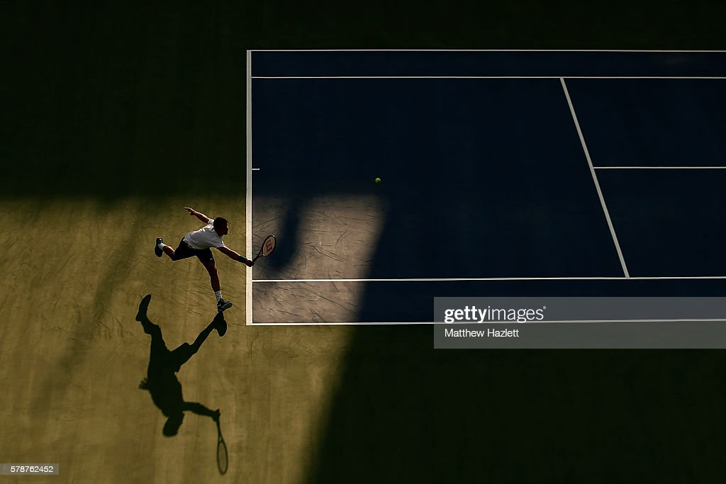 Grigor Dimitrov of Bulgaria returns a shot to Daniel Evans of Great Britain during day 2 of the Citi Open at Rock Creek Tennis Center on July 19, 2016 in Washington, DC.