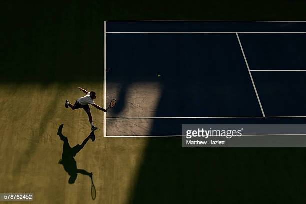 Grigor Dimitrov of Bulgaria returns a shot to Daniel Evans of Great Britain during day 2 of the Citi Open at Rock Creek Tennis Center on July 19 2016...