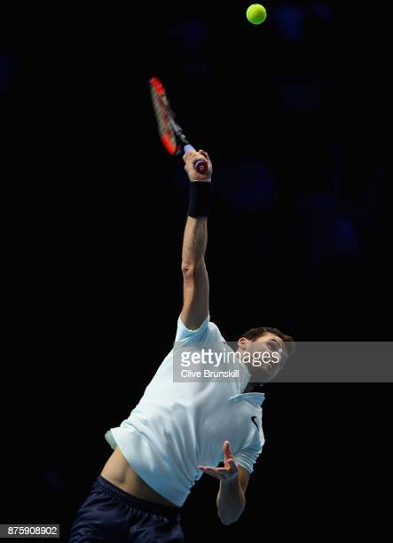 Grigor Dimitrov of Bulgaria serves in his semi final match against Jack Sock of the United States the Nitto ATP World Tour Finals at O2 Arena on...
