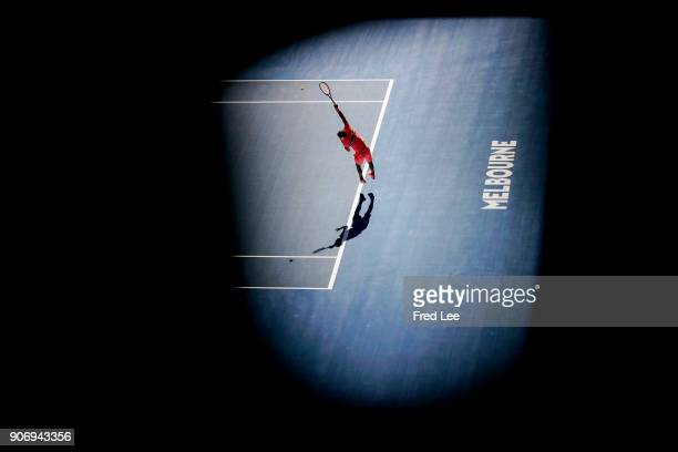 Grigor Dimitrov of Bulgaria serves in his third round match against Andrey Rublev of Russia on day five of the 2018 Australian Open at Melbourne Park...