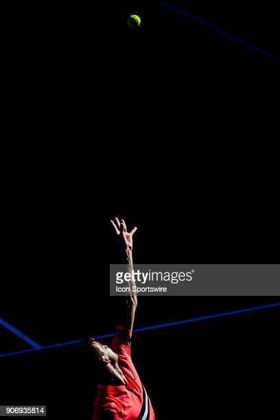 Grigor Dimitrov of Bulgaria serves in his third round match during the 2018 Australian Open on January 19 at Melbourne Park Tennis Centre in...