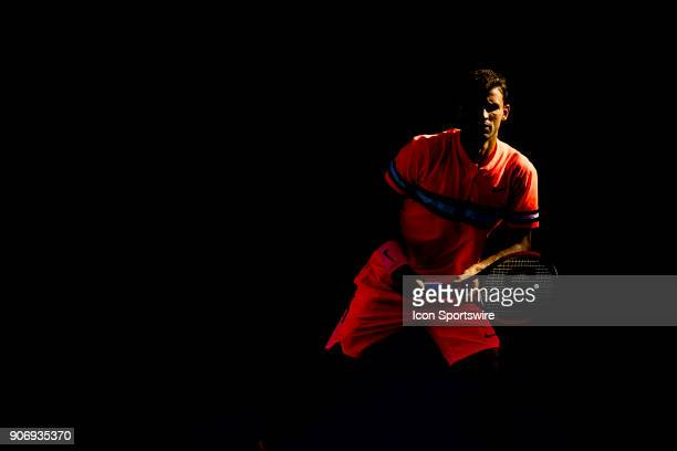 Grigor Dimitrov of Bulgaria waits to receive a serve in his third round match during the 2018 Australian Open on January 19 at Melbourne Park Tennis...