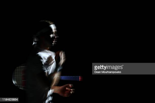 Grigor Dimitrov of Bulgaria walks out to play in his match against Dominic Thiem of Austria on day 4 of the Rolex Paris Masters, part of the ATP...