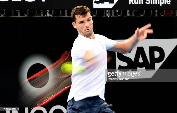 Grigor Dimitrov plays a shot at a practice session during the 2018 Brisbane International at Pat Rafter Arena on December 30 2017 in Brisbane...