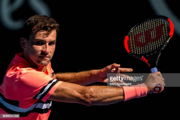 Grigor Dimitrov plays a shot in his third round match during the 2018 Australian Open on January 19 at Melbourne Park Tennis Centre in Melbourne...