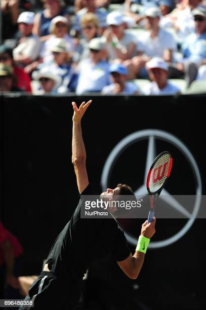 Grigor Dimitrov serves during a match against Jerzy Janowicz in the round of eight of the Mercedes Cup in Stuttgart Germany on June 15 2017