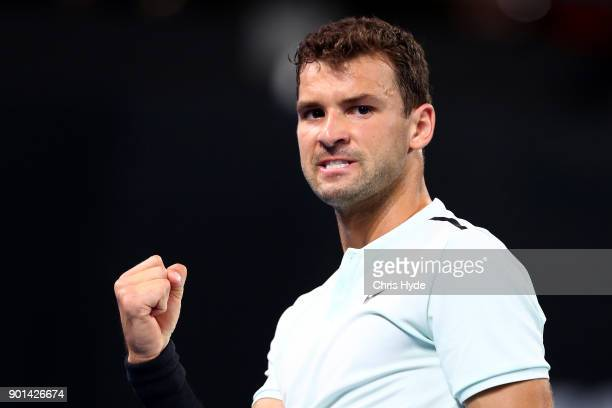 Grigor Dimitrovof of Bulgaria celebrates a point in his match against Kyle Edmund of Great Britain during day six of the 2018 Brisbane International...