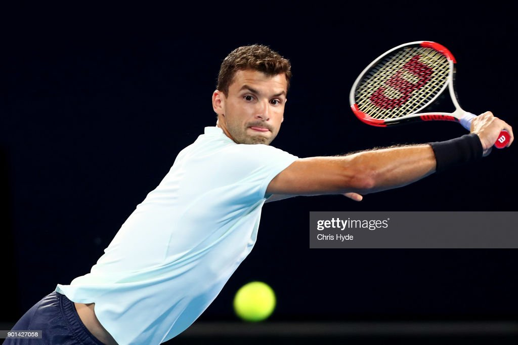 Grigor Dimitrovof of Bulgaria plays a backhand in his match against Kyle Edmund of Great Britain during day six of the 2018 Brisbane International at Pat Rafter Arena on January 5, 2018 in Brisbane, Australia.