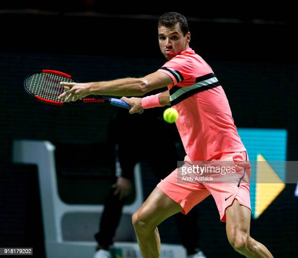 Grigor Dimtrov of Bulgaria in action in his first round match against Yuichi Sugita from Japan during day 3 of the ABN AMRO World Tennis Tournament...