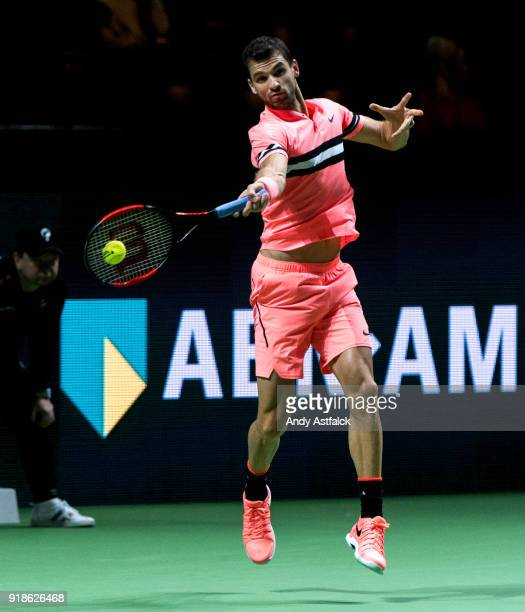 Grigor Dimtrov of Bulgaria in action in his second round match against Filip Krajinovic from Serbia on day 4 of the ABN AMRO World Tennis Tournament...