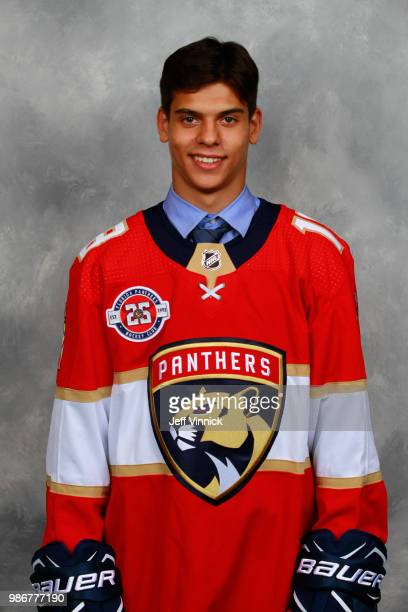 Grigori Denisenko poses for a portrait after being selected fifteenth overall by the Florida Panthers during the first round of the 2018 NHL Draft at...