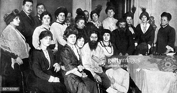 Grigori Rasputin monk faith healer Russia with court ladies at the Russian Imperial Palace in Saint Petersburg no date